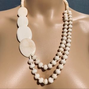 Jewelry - Beautiful bone plate and bead 24 inch necklace.